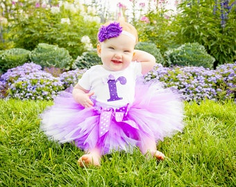 Purple Polka Dot Birthday Tutu Outfit and Matching Headband   Purple Polka Dot Number or Initial