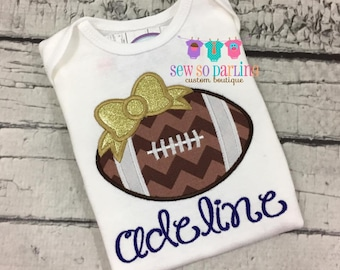 Baby girl football outfit - girl Blue gold Football shirt - personalized outfit - girl football shirt - Girl Football Outfit - Girl Clothes