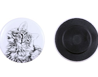 Magnet with a cat -Norwegian Forest cat