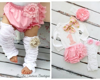 Baby Girl 1st Birthday Outfit Cake Smash Set up to 4 Items ONE & Bow Bodysuit, Lace Bloomers Diaper Cover, Leg Warmers, Peony Lace Headband