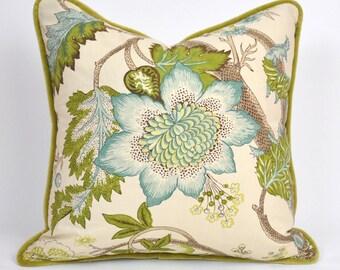 Aqua and Avocado Pillow with Velvet Trim