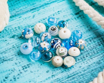 Spacer bead set_small 10 mm_turquoise ivory_sky sea blue_transparent milk_artisan lampwork glass_set of 10_tiny sea spacers_multipurpose DIY