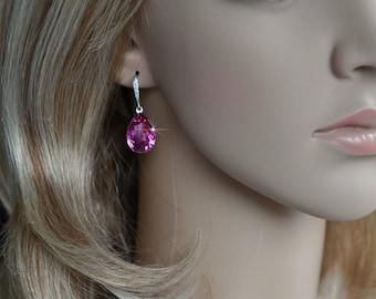 Handmade Swarovski Fuchsia Pear Crystal Dangle Earrings, Bridal, Wedding (Sparkle-2501)