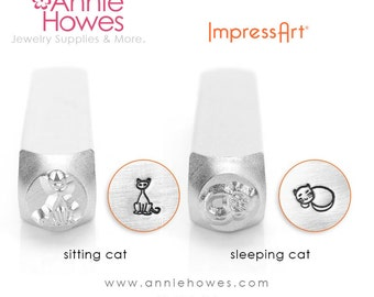 Cat Design Stamp for Jewelry Stamping. Sleeping or Sitting Cat Design Stamp. Impressart Kitty Stamp.