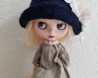 Navy Blue Felted Wool Cloche Hat for Blythe Dolls- Grey Velvet Flowers, millinery Leaves