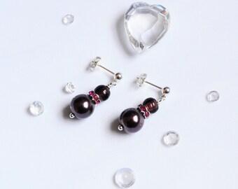 Plum and Pink Bead Earrings