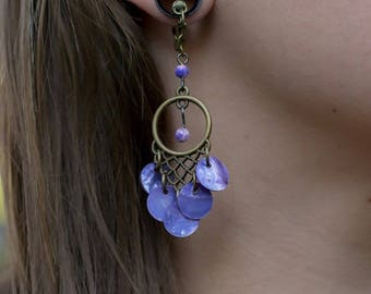 Shell Chandelier Magnetic Clasp Gauges - Available in Purple and Pink