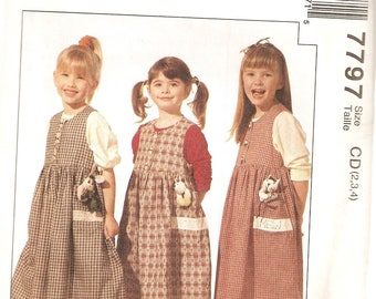 VINTAGE McCall's Sewing Pattern 7797 - Children's Clothes - Girl's Jumper with Appliques, Size 2-3-4