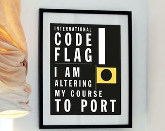 Letter I - Bus Roll International Code Flag - I am altering my course to port
