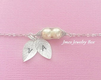 Two peas in a pod bracelet with hand stamped initial leaves, 2 peas in a pod bracelet with leaves
