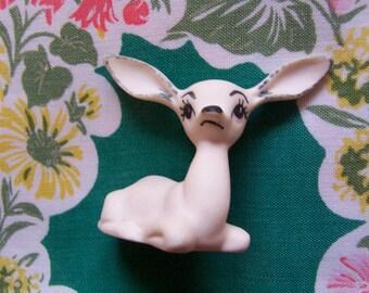 sweet little white porcelain deer figurine