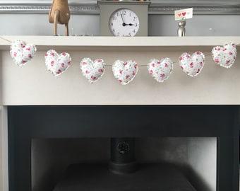 Handmade heart garland/bunting shabby chic - pink flowers & blue hearts