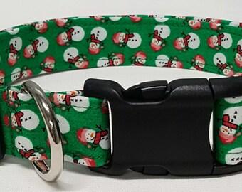dog collar, green snowman, christmas, snowman, christmas dog collar, snowman dog collar, christmas collar, snowman collar, snowmen
