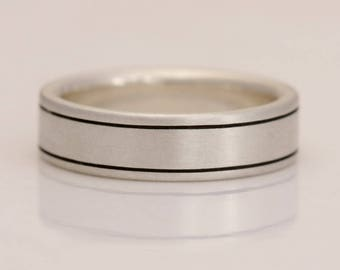 Men's sterling silver wedding band, size 4 to 14, #825.
