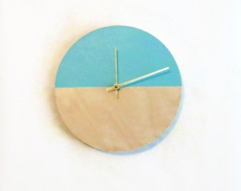 Baby Nursery Clock, Silent Wall Clocks, Natural Wood and Blue Wall Decor, Baby Blue Bedroom Decor