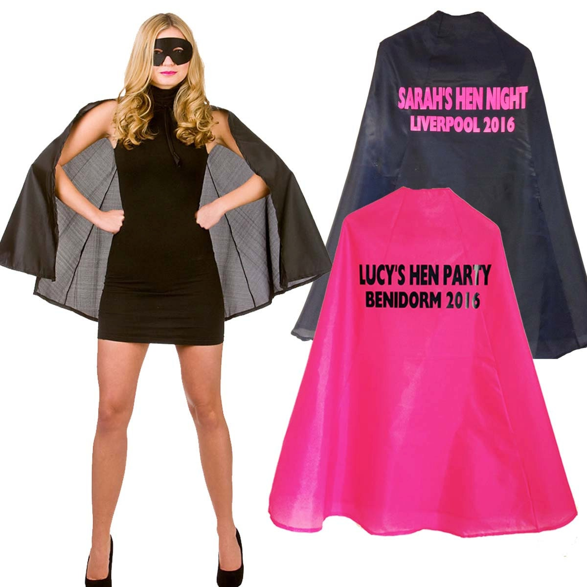 Personalised Hen Party Supehero Cape Fancy Dress Costume