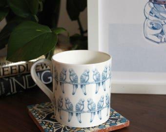 Budgie and Friends, English Bone China Mug
