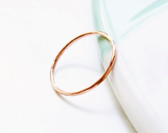 Solid rose gold 1mm super skinny ring, thin rose gold ring