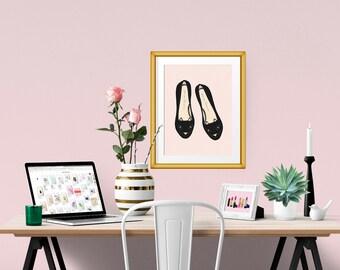 Cat Flats Fashion Illustration Art Poster