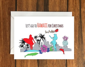 Let's go to Hawaii for Christmas One Original Blank Greeting Card A6 and Envelope