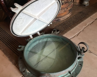 Antique Solid Bronze Porthole and Cover