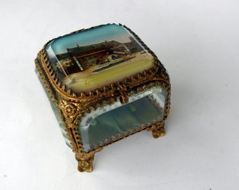 Antique French Glass Jewellery Box Small Glass Chest Wedding Ring Box Beveled Glass Box Ormolu and Glass Casket France Souvenir Box