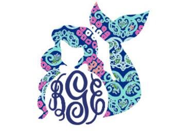 Mermaid Decal - Car Decal - Yeti Decal - Mermaid Car Decal - Mermaid Monogram - Mermaid Sticker - Mermaid Yeti Decal