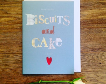 Personalised Card, Anniversary card, Wedding card, Valentines card, Biscuits and cake