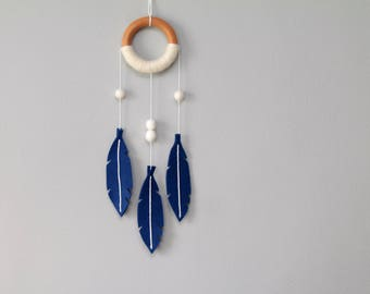 Modern Dream Catcher Mobile with Felt Feathers. Sapphire Blue Wall Hanging. Tribal Nursery Decor. Minimalist Dreamcatcher.