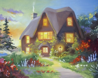 COTTAGE painting by RUSTY RUST 24x36 oils on canvas / M-365