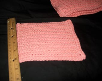 Set of 5 Crocheted Dishcloths in Peach