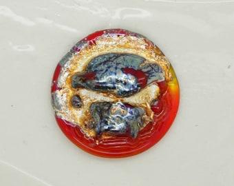 Argenté tête de mort rouge Lampwork Cabochon cabochon verre à la main Art