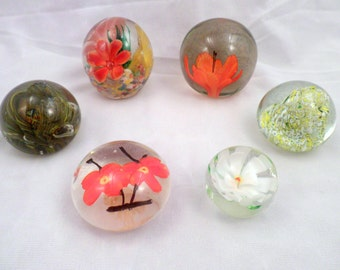 Collection of 6 Paperweights, Hand-Made Glass, Flowers