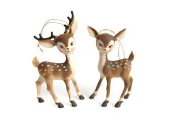Retro Vintage Plastic Deer Figurines