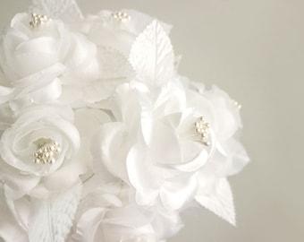 Satin flower trim etsy one dozen white satin roses 12 white fabric flowers bridal bouquet invitations mightylinksfo Images