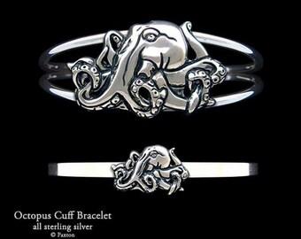 Octopus Bracelet Sterling Silver Octopus Cuff Bracelet Handmade