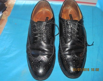 Men's Vintage FLORSHEIM IMPERIAL Long-Wingtip Black Leather Oxford Dress Shoes,  8.5 D