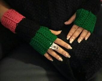 RBG fingerless mittens