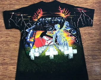 Rare! Vintage 1991 Metallica Album Cover Collage All Over Print Shirt