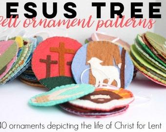 Jesus Tree Felt Ornament Pattern//Lenten Scripture Activity // Gospel of MATTHEW