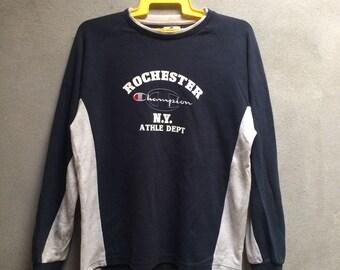Vintage Champion Colorblocking Blue White Crewnceck Sweatshirt