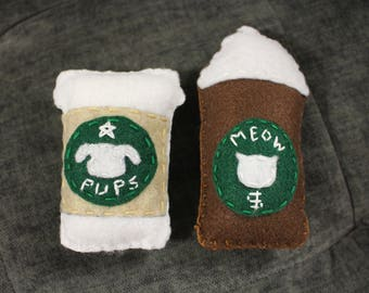 Starbucks Cat OR Dog Toy (w/ bell and catnip OR squeaker)