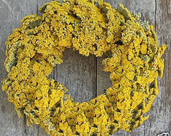 "16"" Yarrow Wreath - Dried Flowers"