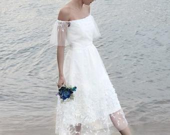 Boho wedding dress, off the shoulder wedding dress, bohemian, rustic wedding dress, unique wedding dress, fairy wedding - Linnea dress