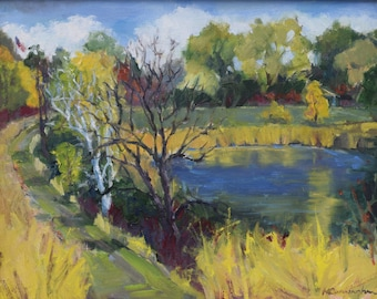 Plein air Painting, Primary Colors, Pond, Landscape Painting, Minnesota