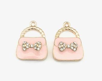 2 handbag charms gold tone pink enamel,18mm x 24mm  #CH 132