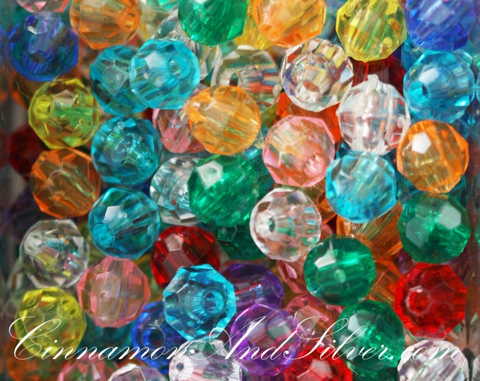 30 Pack Multicolored Variety Jewel Tone Medium Faceted Round Plastic Beads for Jewelry Crafts, 6mm by The Beadery