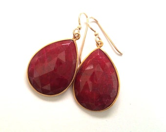 Ruby Earrings, Ruby Gold Earrings, Large Ruby Earrings, Ruby Birthstone Earrings