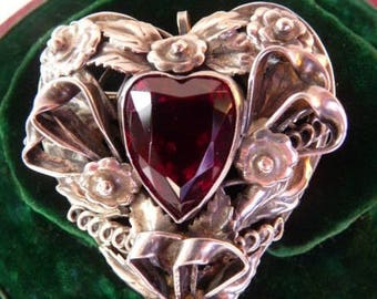 Hobe sterling silver heart pin pendant | burgundy garnet paste brooch | Renaissance revival ornate baroque | rare 1940s valentine