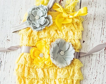 Easter Outfit, First Easter Outfit, Yellow Gray Easter Outfit, Baby Girl Lace Romper, Pink Romper, 1st Easter Outfit, Lace Romper,